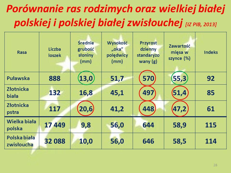 Porównanie ras rodzimych oraz wielkiej białej polskiej i polskiej białej zwisłouchej [IZ PIB, 2013]